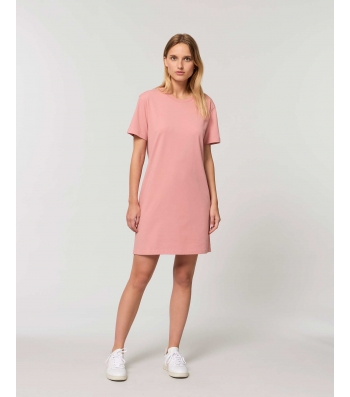 ROBE Tee-shirt coton bio rose manches courtes