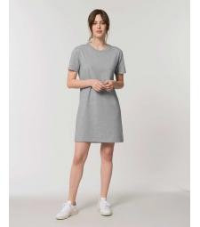 ROBE Tee-shirt coton bio gris chiné manches courtes