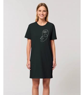 ROBE Tee-shirt coton bio noir impression visage blanc