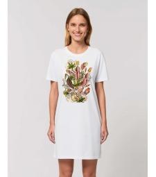 ROBE Tee-shirt coton bio blanc impression fleur nepenthes