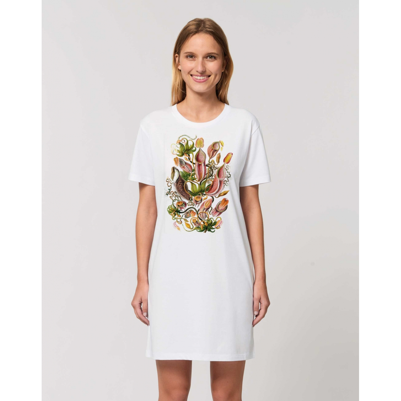 https://tee-shirt-bio.com/9527-thickbox_default/robe-tee-shirt-coton-bio-blanc-impression-fleur-nepenthes.jpg