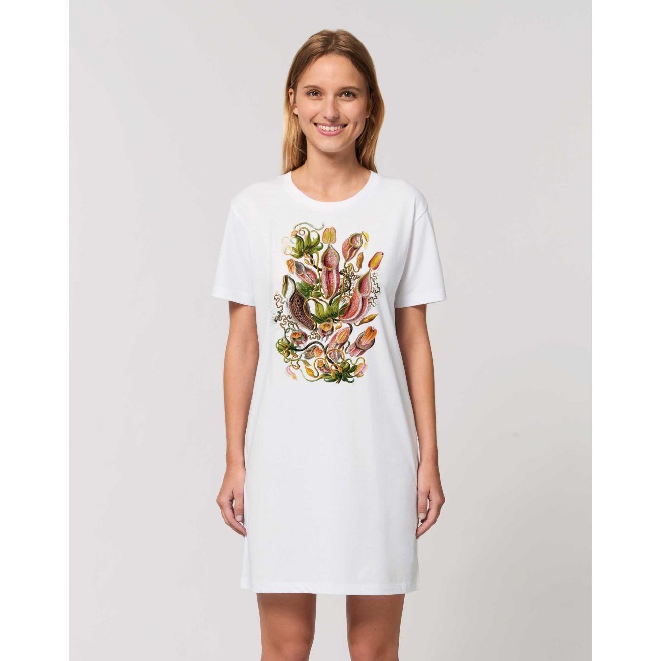 https://tee-shirt-bio.com/9527-thickbox_default/robe-tee-shirt-coton-bio-blanc-impression-fleur-nepenthes.jpg