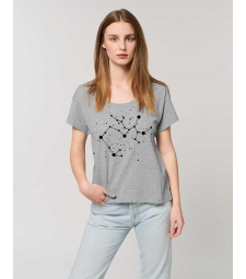TEE-SHIRT Femme gris chiné coton BIO coupe loose Constellation