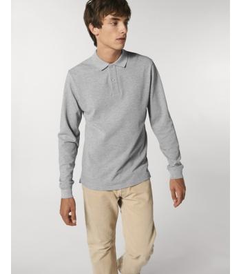 POLO coton piqué manches longues gris chiné