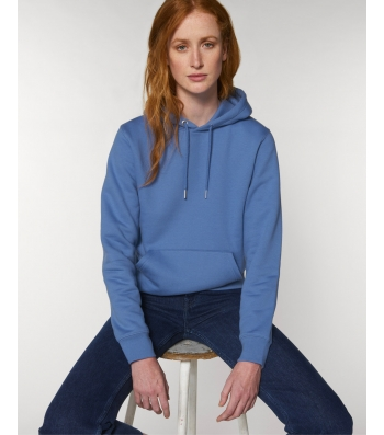 SWEAT-SHIRT Femme Capuche épais et intérieur doux coton BIO Beau bleu lumineux