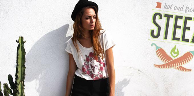Tee-shirt steezstudio rose tattoo slub blanc vintage