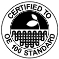 label textile certifies to OE 100 standard