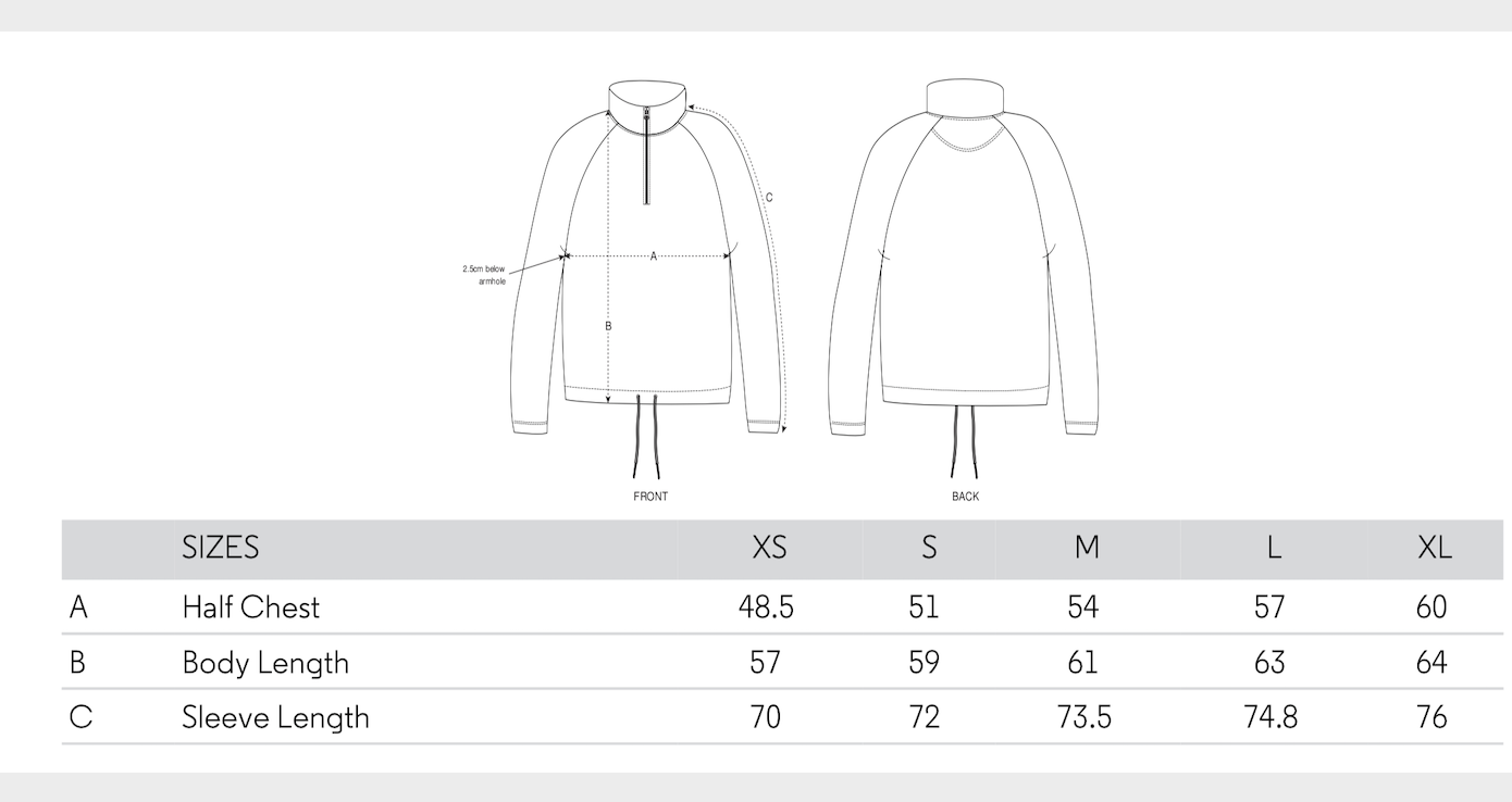 mensurations sweat femme zip coton bio